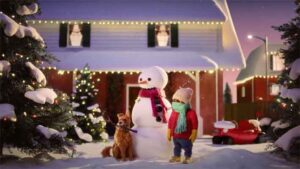 Animation of a dog, snowman, and person outside a house