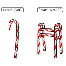 A candy cane and a candy walker